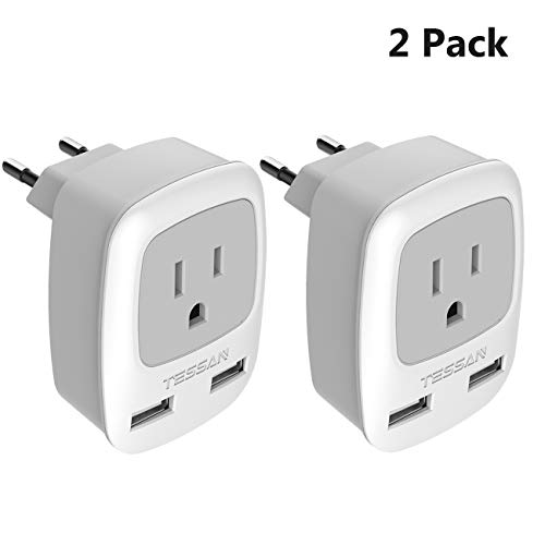 European Plug Adapter 2 Pack, TESSAN 3 in 1 Travel Power Outlet with Dual USB Charging Ports - USA to Most of EU Europe (Type C)