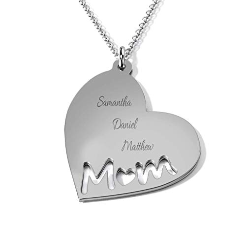 Engravable Heart - Sterling Silver Mom's Heart Engravable Necklace with a 16