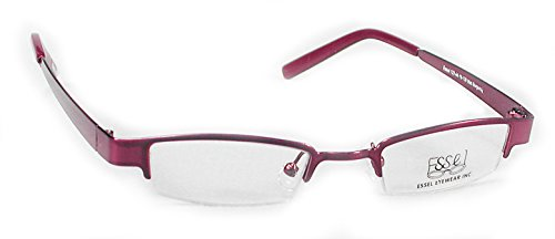 ES123 Metal Rectangular Eye Glasses Semi Rimless Frame (Brown, 42)