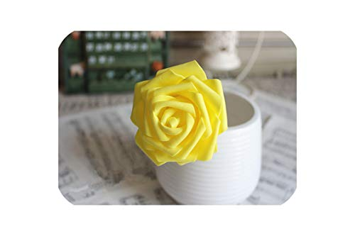 10pcs 6kind of Colors Diameter 6-7 cm Artificial Foam Roses for Home Bouquet Wedding Party,Yellow