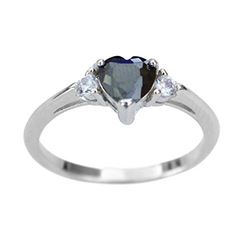 ACEFEEL 925 Sterling Silver Heart Shaped Black Cubic Zirconia Engagement Promise Band Ring Size 6