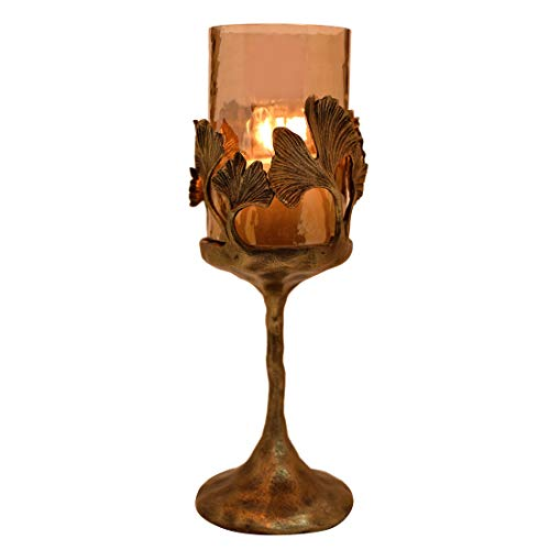 Decozen The Gingko Collection Small Glass Candle Holder in Brown Luster Finish Antique Brass Finished Aluminum Gingko Leaves and Base for Gifting and Home Décor Decorative Candle ()