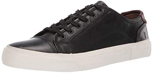 Frye Men's Ludlow Cap Low Lace Sneaker, Black/White, 9 M US