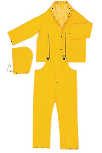MCR Safety Yellow Classic Plus .35 mm Polyester And PVC 3-Piece Rain Suit With Detachable Hood, Bib Pants And Corduroy Collar by River City Rainwear Co