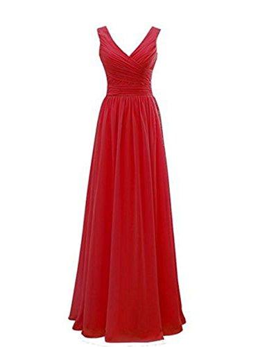 scollo da Abiti a ballo Vestito V Rosso sera da Abito partito Vestito Donne Chiffon PRTS damigella da da Lungo qvpwIp