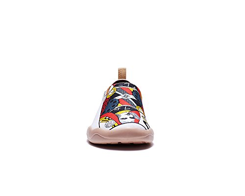 Uin Mens Poker Peint Toile Mocassin Chaussure Multicolore