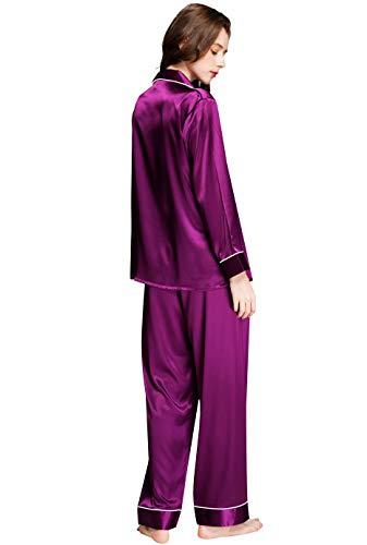 Womens Silk Satin Pajamas Set Purple M