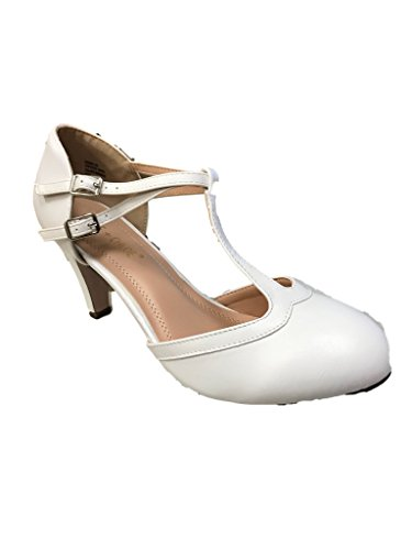 Chase & Chloe Kimmy-58 Womens Double Buckle T-Strap Retro Pump White Pu r6kMHpeS2
