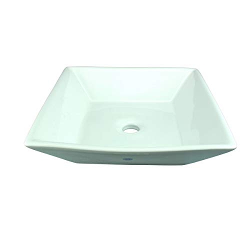 Above Counter Square Vessel Sink Above Counter Art Basin White Porcelain 4-3 4 Height X 16-1 2 Wide X 16-1 2 Projection Renovator s Supply