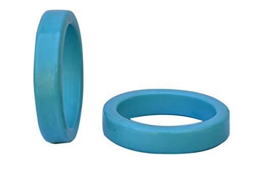 Worldexplorer Handmade Wedding Party Decorations Vintage Colorful Napkin Rings Set for Dinner Ideas (Blue, Pack of 12)