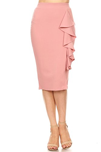 High Waist Band Casual Ruffle Bodycon Knee Midi Pencil Skirt/Made in USA Dusty Pink L
