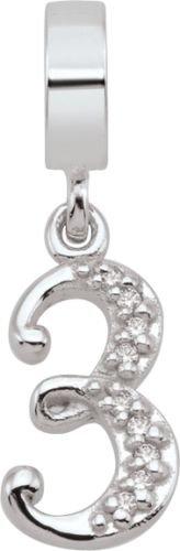 Persona Sterling Silver Number 3 Charm fits Pandora, Troll & Chamilia European Charm Bracelets