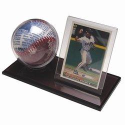 Holder Baseball Glove (Black Acrylic Base Baseball & Card Holder)