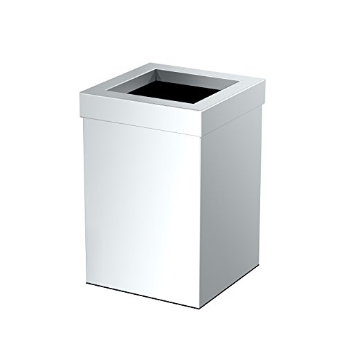 Gatco 1913 Waste Can Modern Bathroom, Kitchen, Office Trash Bin, Square, Chrome