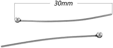 100/pcs en acier inoxydable Ball Head pins Appr/êt DIY Bijoux Accessoires 30/Mmx0.7/mm
