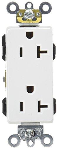 Leviton 16362-W 20-Amp, 125-Volt, Decora Plus Duplex Receptacle, Straight Blade, Industrial Grade, Self Grounding, White