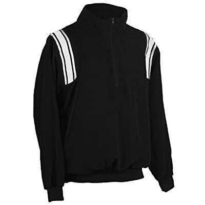 Adams USA Smitty Umpire 1/2 Zip Long Sleeve Pullover Jacket (Black/White, 4X-Large) by Adams USA