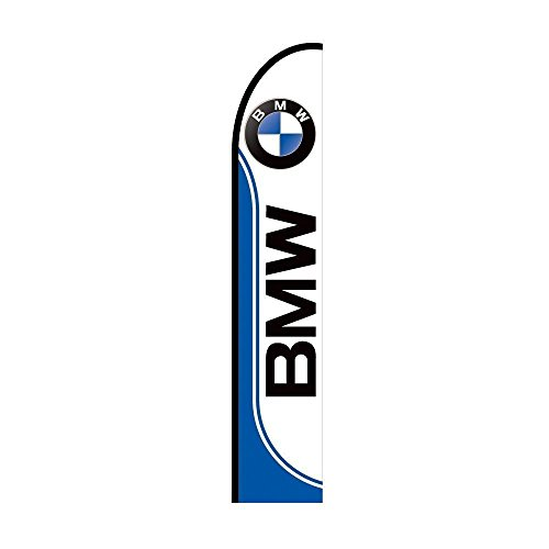 BMW Sign Feather Flag, 11.5 Feet Outdoor Advertising Display Banner - Pre Printed Promotional Business FLAG ONLY