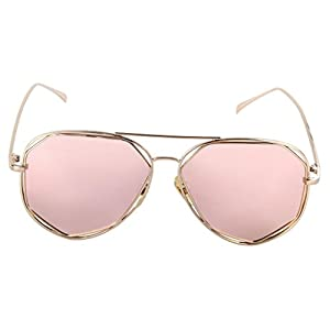 WODISON Polarized Reflective Womens Aviator Sunglasses Metal Frame Mirrored Eyeglasses Rose Gold Lens