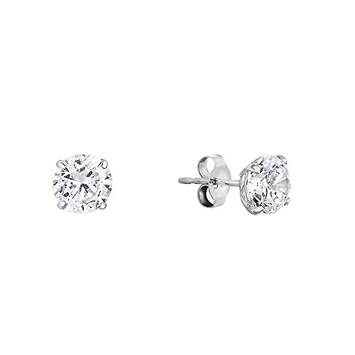 14k White Gold Solitaire Round Cubic Zirconia Stud Earrings with Gold butterfly Pushbacks (4mm) -