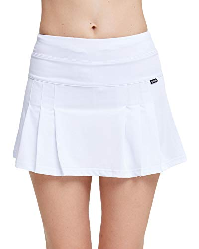 Amormio Women's Solid High Waisted Pleated Skort Quick-Dry Running Tennis Golf Mini Skirt with Underneath Shorts (White, ()