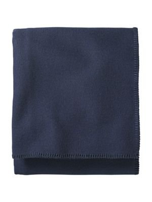 Wool Washable Fabric (Pendleton Eco-Wise Easy Care Blanket, Twin, Midnight Navy)