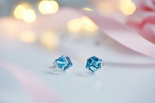 - Gozebra(TM) Antique Charms Round Cube Blue Opal Crystal White Gold Filled Lady Stud Earrings