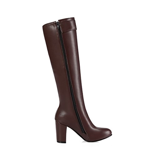 Solid Material Heels Pointed Women's Allhqfashion top Boots Soft Toe High High Brown Closed q0vqgXw