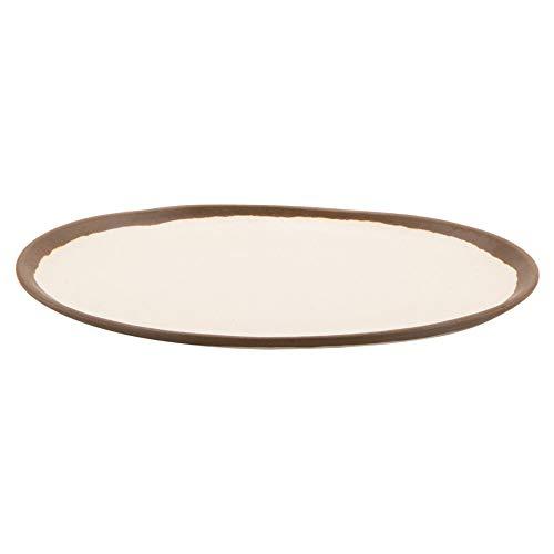 "GET P-129-CRM Pottery Market Dinner Plates, 11-3/4"" L x 9-1/4""W, Cream with Brown Trim, Case of 1 Dozen"