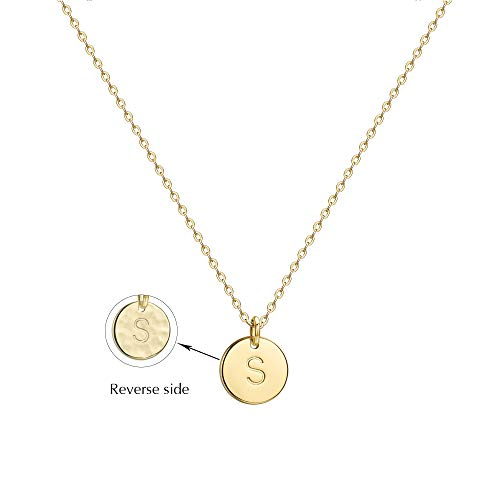 Befettly Initial Necklace Pendant 14K Gold-Plated Round Disc Double Side Engraved Hammered Choker Necklace 16.5'' Adjustable Personalized Alphabet Letter Pendant ()