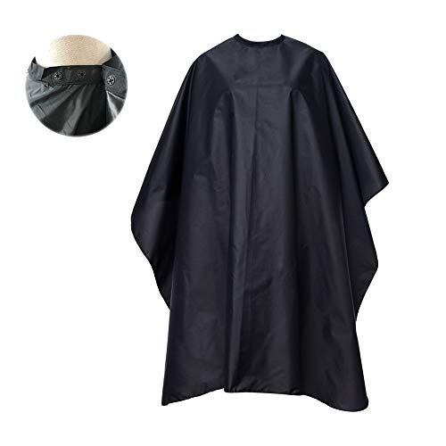 FocusOn Professional Barber Cape, Salon Cape with Snap Closure for Hair Cutting, Black 59