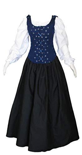 (Renaissance Faire Wench Pirate Gown Medieval Dress 3 Piece Set (Medium, Navy/Black))
