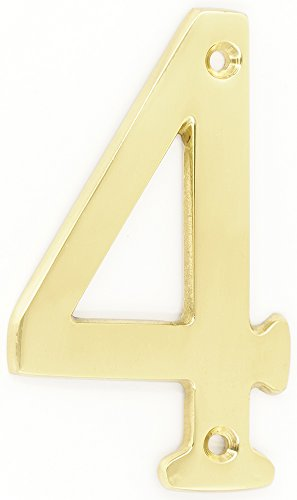 Bright Brass Four - ZW Hardware A200 6 Inch Brass Bright Brass House Number 4