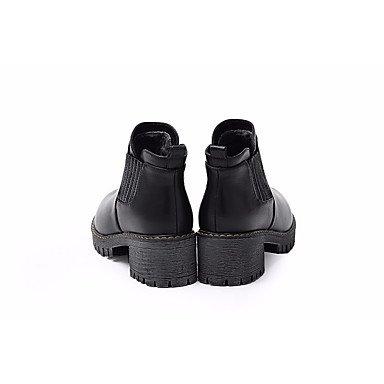 Botas de mujeres PU Confort confort informal de resorte plano Negro Marrón Brown