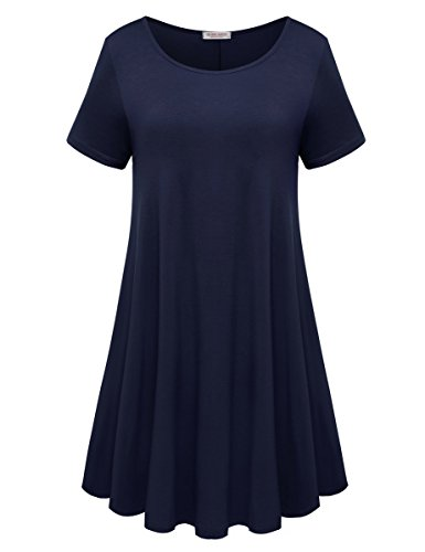 (BELAROI Womens Comfy Swing Tunic Short Sleeve Solid T-Shirt Dress (2X, Navy Blue))