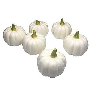 COTOSEY Artificial Pumpkins 6 Pcs Lifelike Simulation for Festive Wedding Halloween Party Home Decoration (White)