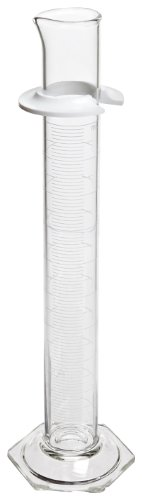Corning Pyrex Borosilicate Glass Single Metric Scale Graduated TD Cylinder with Spout, 100ml Capacity, 29mm OD x 254mm Height (Case of 12)