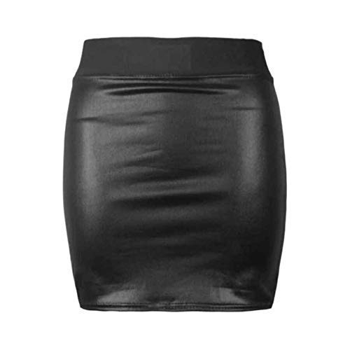 VR7 Womens Faux Leather Ladies Elastic Waistband Bodycon Stretch Wet Look Pencil Fitted Tube Midi,Mini Skirts All Wet…