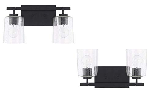 - Capital Lighting Homeplace/Greyson - Two Light Bath Vanity, Matte Black Finish with Clear Seeded Glass - 2 Pack
