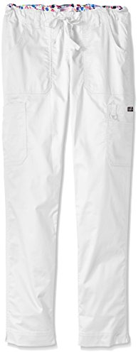koi-womens-tall-stretch-lindsey-mid-rise-drawstring-waist-cargo-scrub-pant-white-medium-tall