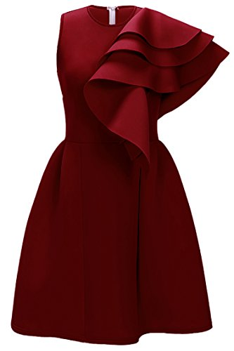 Uhnice Women's Ruffle One Shoulder Bodycon Party Club Cocktail Evening Dress (Small, Wine) Cocktail Evening Club Dress