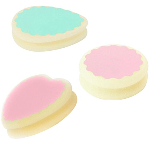 3pcs Magic Painless Hair Removal Depilation Sponge Pad Remove Hair Remover (Heart+Water Drop+Round Shape)