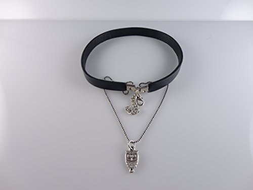 (Genuine Black Leather with Owl Necklace, Fits 12.5'' to 14'' Adjustable by Handmade Studio HS3054L)