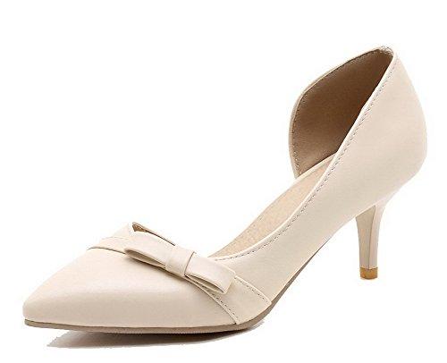 AllhqFashion Femme Stylet Féminin Matière Souple Tire Chaussures Légeres Beige SZvmDs9H