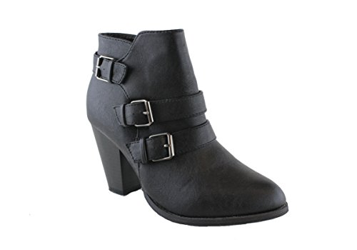 Forever Women's Buckle Strap Block Heel Ankle Booties, Black - Distressed Pumps Leather