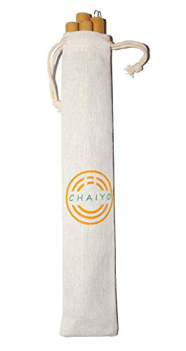 10.5'' Organic Bamboo Drinking Straws Set of 8 | Reusable | Extra Long | Wide Mouth | Carrying Bag | 2 Cleaning Brushes by CHAIYO (Image #3)