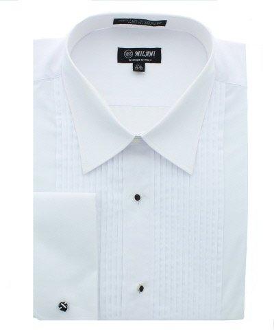 Milani Men's Tuxedo Shirt With French Cuffs 18', 34/35 White