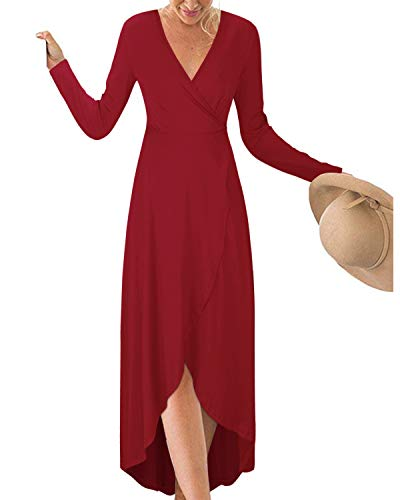 KILIG Womens V Neck Long Sleeve Asymmetrical Casual Maxi Dresses (Wine-1, L)