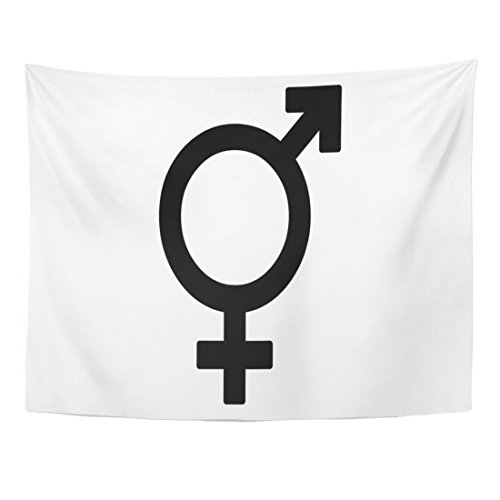 TOMPOP Tapestry Colorful Baby Black Bisexual Gender Sex Symbol Colors Home Decor Wall Hanging for Living Room Bedroom Dorm 60x80 Inches by TOMPOP