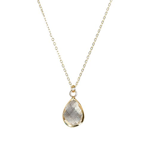 Fettero Waterdrop Necklace 14K Gold Fill Glass Crystal Oval Teardrop Pendant Chain 17